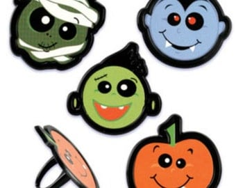 Halloween Party Faces Cupcake Topper Rings, 12 Halloween Cupcake Toppers, Halloween Party Favors, Trick or Treat