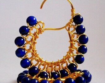 Signature S Earrings -Lapis Lazuli