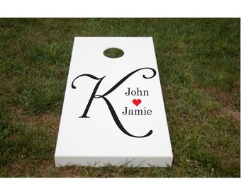 Custom Cornhole Decals Stencils Painting Vinyl Lettering Decal Artwork Personalized Sticker Wedding
