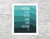 Funny Digital Art Print How Do You Like Me Now Print Digital Art Inspirational Funny Art Home Decor Wall Art Teal Ombre Geometric
