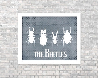 Poster - Funny Beatles Beetles Bug Poster - Ironic Humor - Olive Green Dotted Digital Art Print Dots Rustic