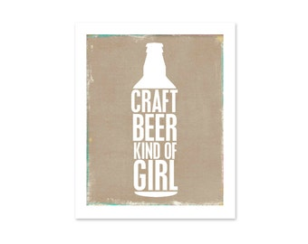 Craft Beer Art Print - Beer Typography Poster - Bar Sign Home Decor - Drink Local - Kraft Brown - Beer Art, Beer Poster, Beer Typography