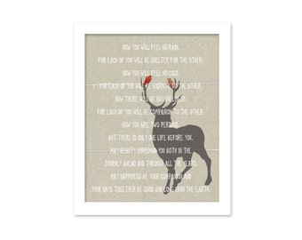 Apache Wedding Blessing Prayer Digital Art Print - Love Typography Poster Deer Woodland Birds Natural Rustic Wedding Gift Vows