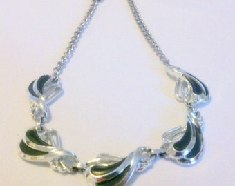 Vintage 1960's Silver and Black Choker Necklace