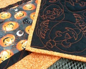 Quilted Pumpkins Table Runner, Pumpkins Reversible Quilted Table Topper, Halloween Bats Table Runner