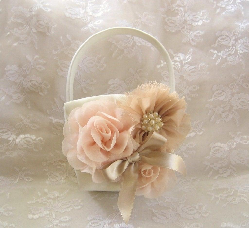 Flower Girl Basket Montreal : Wedding sale off champagne flower girl by nanarosedesigns