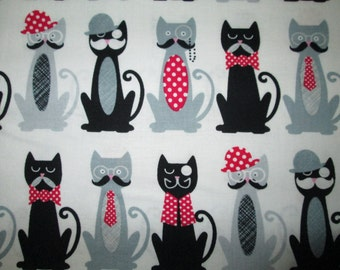 Cool Cats In Hats With Mustaches Off White Cotton Fabric Fat Quarter or Custom Listing