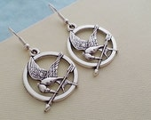Silver Bird Arrow Earrings. Arrow Bird Pendant. Silver Bird Arrow. Round Earrings