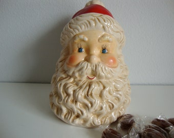 Christmas Santa, Ceramic Santa Claus Candy Jar, Jolly Santa Candy Jar, Christmas Decor, Holiday Decor