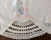 Vintage pair of 2 Southern Belle hand Crocheted and Embroidered Dresser Scarves
