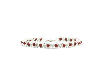 Red Jasper Anklet - Gemstone Jewelry - Chain Ankle Bracelet - Beadwork Jewelry - Beaded Anklet - Jasper Jewelry
