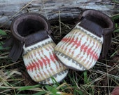 Scout Baby Moccasin 3-6 month // Tribal Pendleton Wool Brown Leather // Rosebud Originals