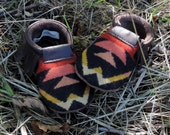 Scout Baby Moccasin 18-24 month // Tribal Pendleton Wool Brown Leather // Rosebud Originals