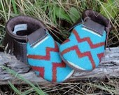 Scout Baby Moccasin 12-18 month // Tribal Pendleton Wool Brown Leather // Rosebud Originals