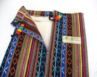 Yoga Mat Bag - pure cotton - Mexican woven stripes - large bag with draw string & colourful beads + internal ZIP POCKET