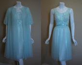 1950s Vanity Fair Aqua Green Peignoir Set, medium, 34, nightgown, robe,  Double Nylon Chiffon