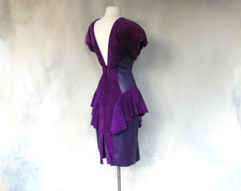 1980s purple suede/ leather dress - 80s avant garde peplum wiggle dress - Medium