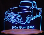 "1956  F100 Pickup Truck LF Acrylic Lighted Edge Lit LED Sign 13"" VVD3 Full Size USA Original"