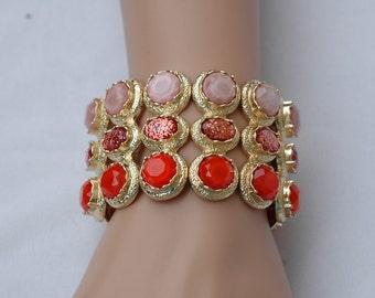 Stretch Bracelet, Orange Resin bracelet, summer Bracelet, Gift for her, Orange and Gold bracelet