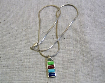 Vintage Sterling Silver Chain and Four Gemstone Pendant