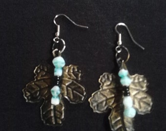 Antiqued brass Leaf earrings