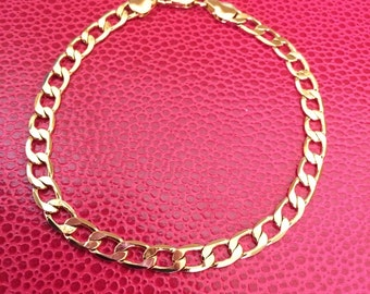 Shiny gold plated one 8 inch flat chain bracelet