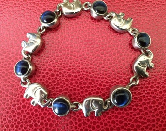 Elephant and Blue Cat Eye Link Bracelet With Magnet Clasp