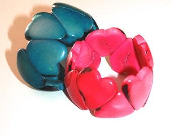 Heart Shaped Tagua Bracelets, Tagua Bracelet, Boho Jewelry, Boho chic