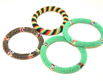 African Bangles/ 4 Maasai Beaded Bangles/ Fair trade/ African Jewelry