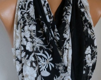 Floral Chiffon Infinity Scarf,Spring Summer Scarf, Circle, Loop Scarf, Gift Ideas For Her, Women's Fashion Accessories Women Scarves