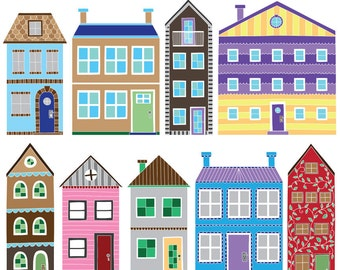 Digital Graphics, Bright Housewarming Clipart, Handmade Digital Clip Art, Invitation Clipart, Commercial Use
