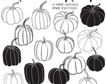 Pumpkin Clipart Black and White Outline, Vector EPS Included, Instant Download, Clip Art Pumpkins