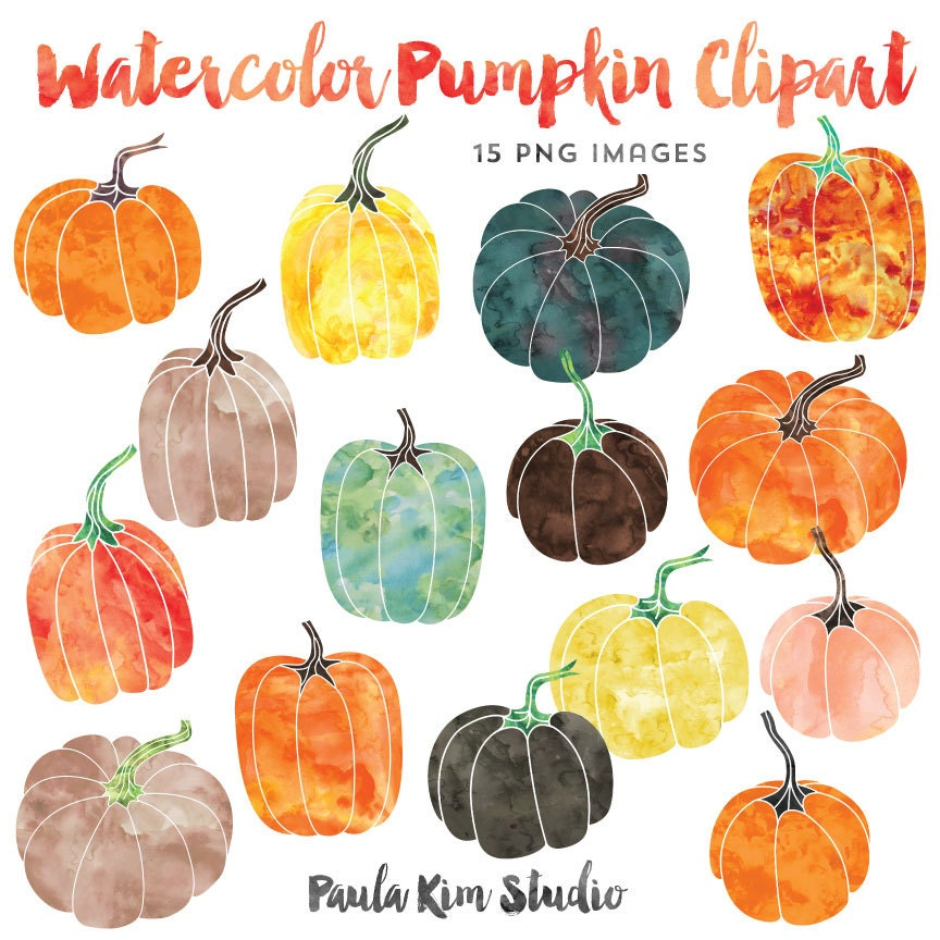 Watercolor Graphics Pumpkin Clipart Fall Clip Art Instant