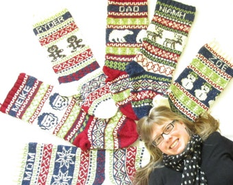 Personalized Knit Christmas Stockings Set of 6 - Hand knit Stockings with Fair Isle