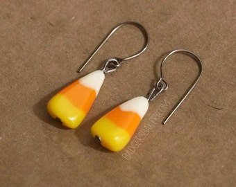 CANDY CORN EARRINGS - realistic candy corn studs or dangle earrings handmade of polymer clay - Halloween jewelry