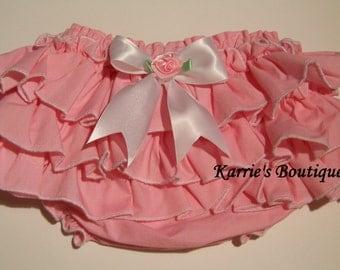 Ruffle Diaper Cover / Ruffle Bloomer / Pink / White / Birthday / Newborn / Infant / Baby / Girl / Toddler / Custom Boutique Clothing