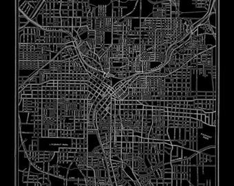 1927 Atlanta Street Map Vintage Print Poster Black