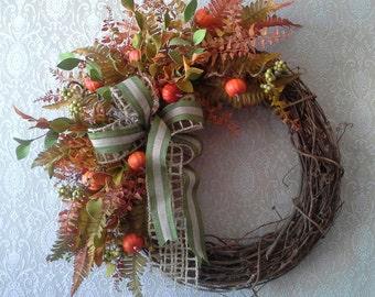 Fall wreath, Autumn wreath, Foliage wreath, mini pumpkin wreath, Life like, Door decor, Cottage decor