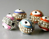 BEAD-EE-PAVE-10MM - Pave Crystal Evil Eye Bead, Platinum or Copper Plated - 1 pc