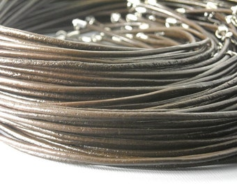 NKLC-CH-BRW-2MM - 2mm Leather Cord Necklace, dark brown, 2mm, 18 inches - 5 strands
