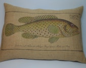Trout Burlap Pillow, Shabby Chic, Cabin Decor, Man Cave, Fish, INSERT INCLUDED