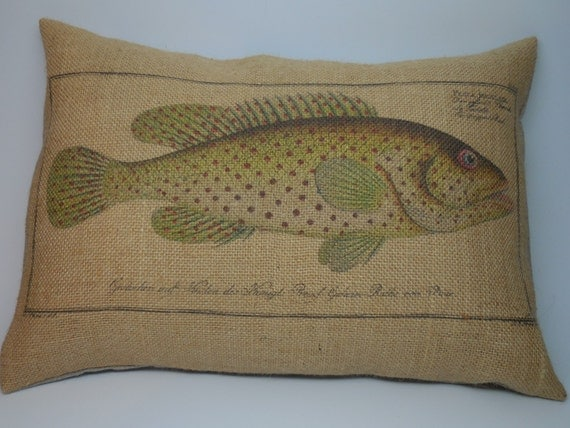 Shabby Chic Burlap Pillows : Trout Burlap Pillow Shabby Chic Cabin by PolkadotApplePillows