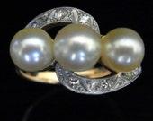 Art Deco 3 Gold Tone Pearls Platinum 18k Yellow Gold Ring Estate Vintage Antique