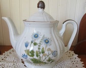 Lovely Vintage Blue Wildflower Stoneware Teapot // Speckled Pottery // Japan
