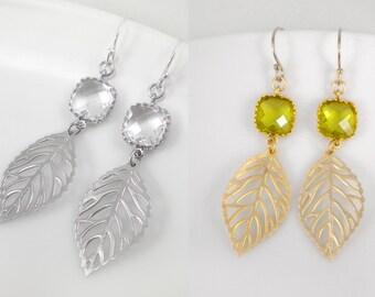 Leaf earrings, leaf dangle earrings with framed glass connector, birthstone earrings, gold leaf earrings, silver leaf earrings