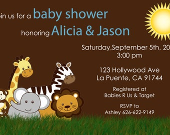 Jungle Baby Shower Invite - Baby Boy (Can be changed to Girl)