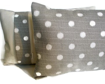 Gray Dot Pillow Cover Gray Polka Dot Pillow Gray Ikat Pillow 16 18 20