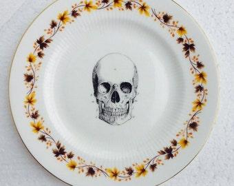 Black Skull plate Yellow floral border Bone China plate for Wall Display Royal Kent Alternative Anatomical Art Decor- Made in England