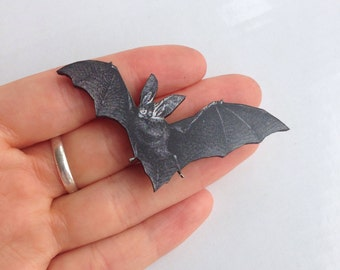Black Bat Halloween Bats Wooden Brooch Pin Birthday Gift Christmas Stocking Filler Laser Cut