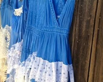 Custom made-to-order fall bride blue sky hand dyed boho gypsy lace tan shabby prairie rustic barn wedding bridesmaid dress